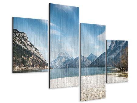Metallic-Bild 4-teilig modern Der idyllische Bergsee