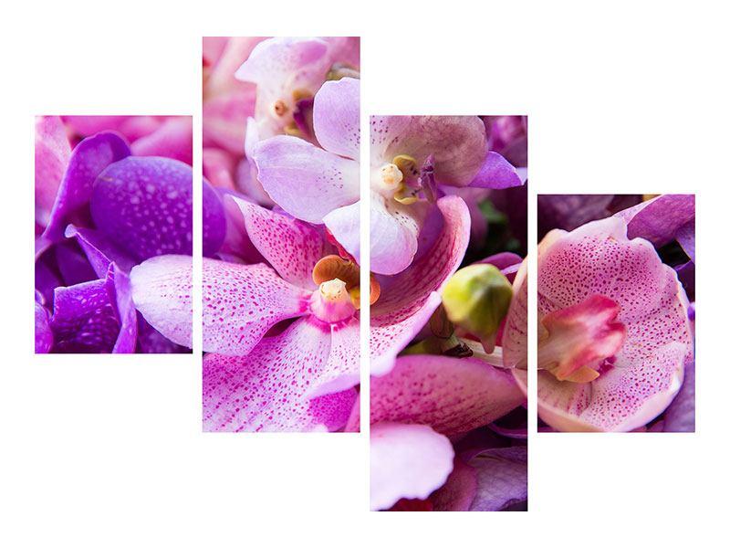 Metallic-Bild 4-teilig modern Im Orchideenparadies