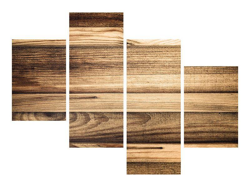 Metallic-Bild 4-teilig modern Holztrend