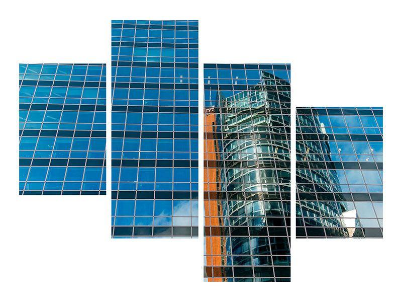 Metallic-Bild 4-teilig modern Wolkenkratzer-Spiegel