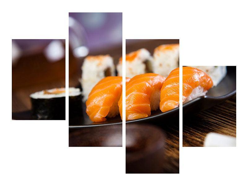 Metallic-Bild 4-teilig modern Sushi-Gericht