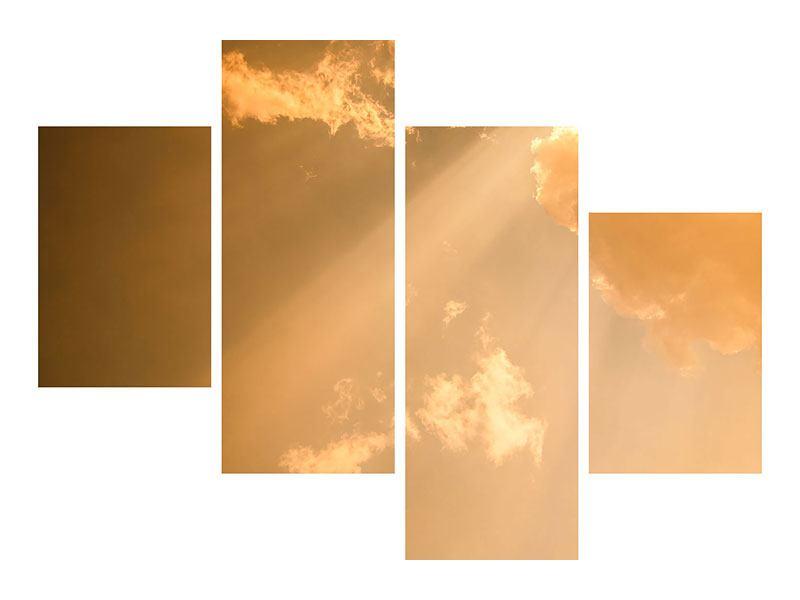 Metallic-Bild 4-teilig modern Abendhimmel