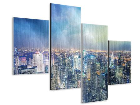 Metallic-Bild 4-teilig modern Skyline NY bei Sonnenuntergang