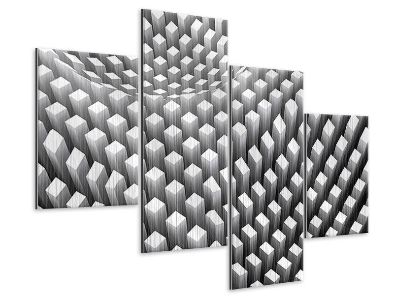 Metallic-Bild 4-teilig modern 3D-Rasterdesign