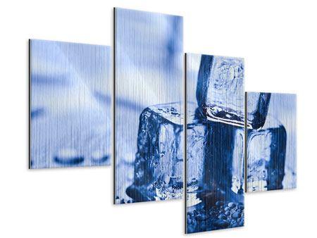 Metallic-Bild 4-teilig modern Eiswürfel