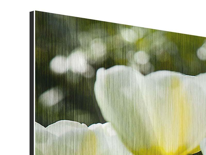 Metallic-Bild 4-teilig modern Tulpen bei Sonnenuntergang