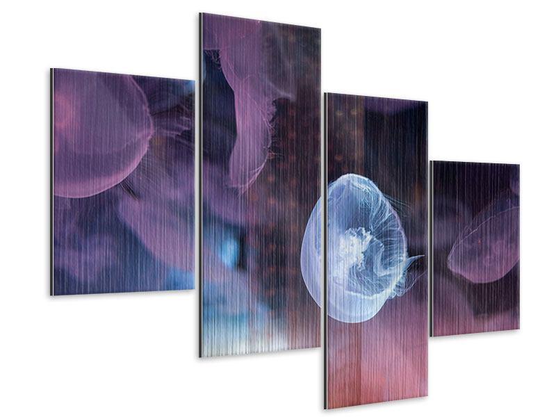Metallic-Bild 4-teilig modern Die Schönheit der Quallen