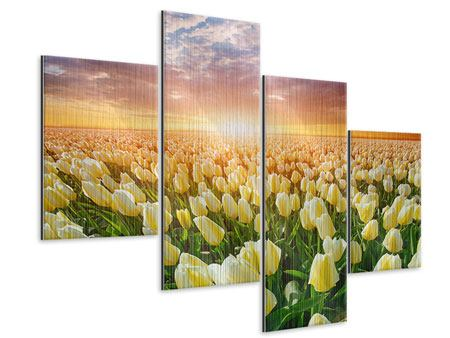 Metallic-Bild 4-teilig modern Sonnenaufgang bei den Tulpen