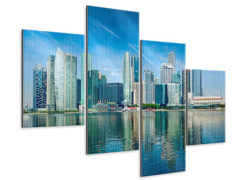 Metallic-Bild 4-teilig modern Skyline Mexiko-Stadt