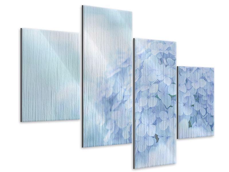 Metallic-Bild 4-teilig modern Die Hortensie