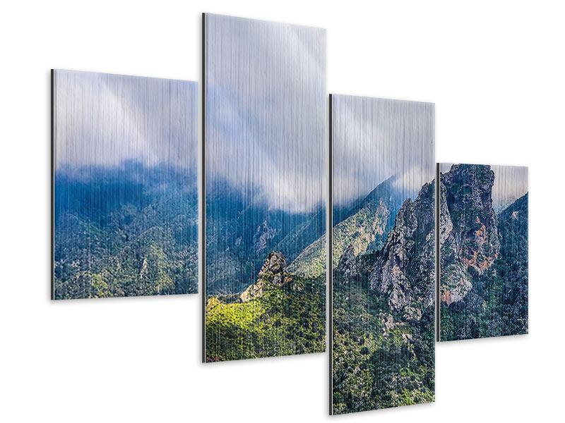 Metallic-Bild 4-teilig modern Der stille Berg