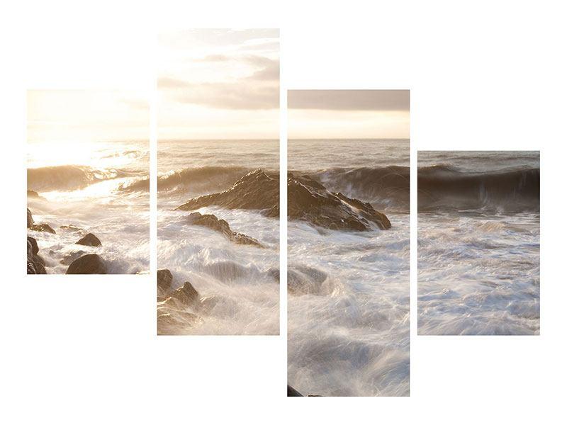 Metallic-Bild 4-teilig modern Meeresbrandung