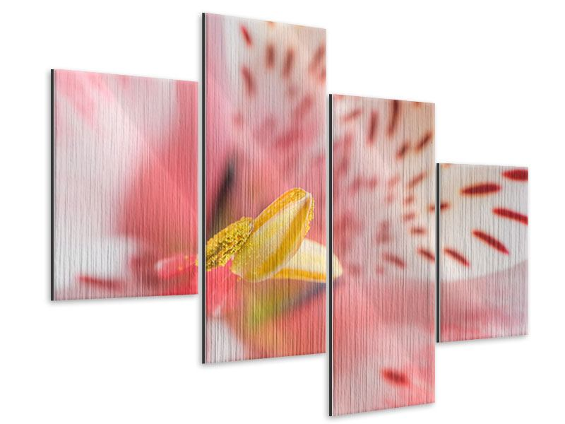 Metallic-Bild 4-teilig modern Der Lilienstempel