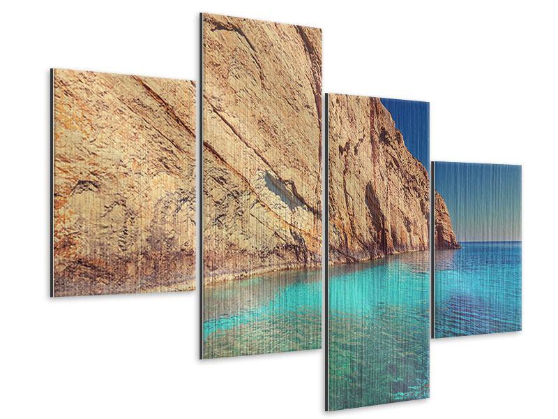 Metallic-Bild 4-teilig modern Wasser