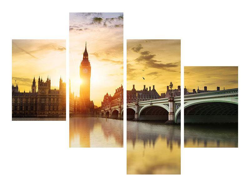 Metallic-Bild 4-teilig modern Skyline Big Ben im Sonnenuntergang