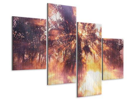 Metallic-Bild 4-teilig modern Die Waldspiegelung