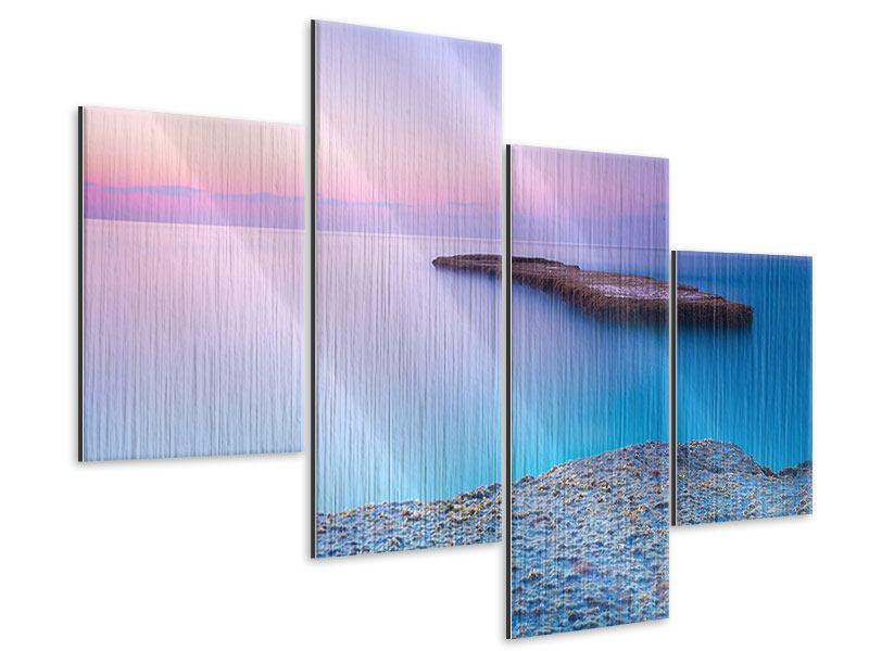 Metallic-Bild 4-teilig modern Unendlicher Ozean