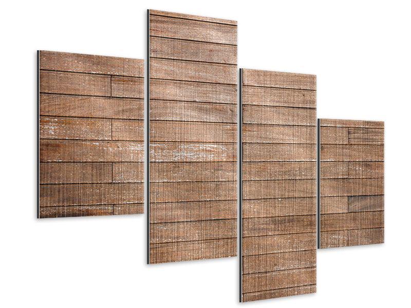 Metallic-Bild 4-teilig modern Walnuss-Paneele