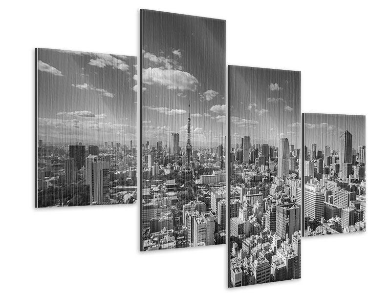 Metallic-Bild 4-teilig modern Tokio