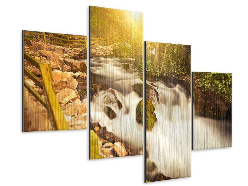 Metallic-Bild 4-teilig modern Sonnenuntergang am Wasserfall