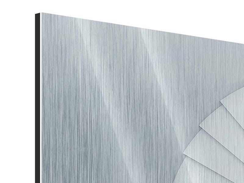 Metallic-Bild 4-teilig modern 3D Wendeltreppe