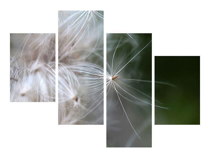 Metallic-Bild 4-teilig modern Close up Blütenfasern