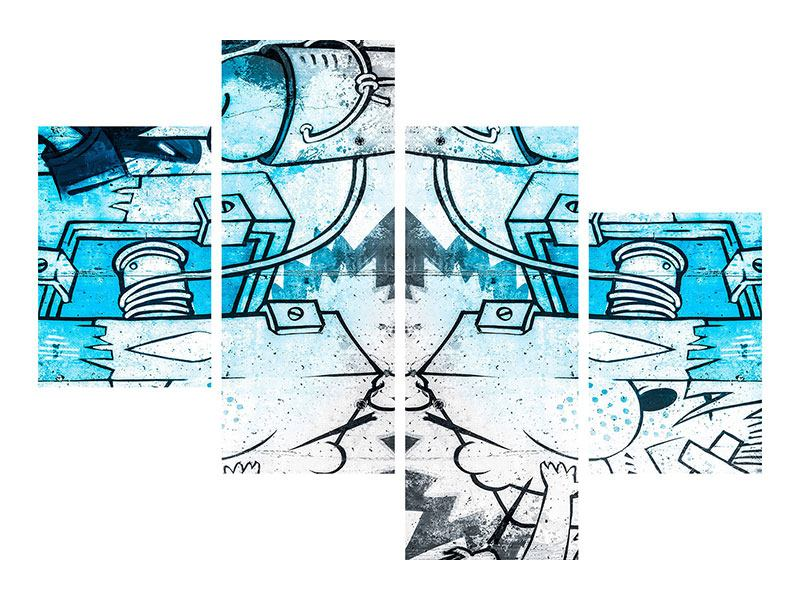 Metallic-Bild 4-teilig modern Graffiti