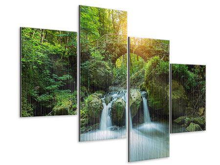 Metallic-Bild 4-teilig modern Wasserspiegelungen