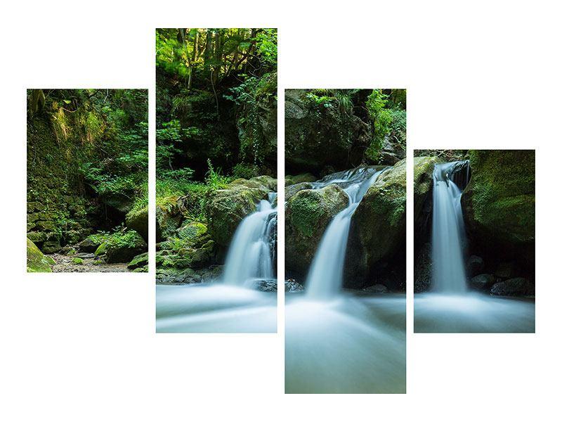 Metallic-Bild 4-teilig modern Fallendes Wasser