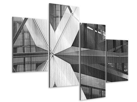 Metallic-Bild 4-teilig modern Teil eines Wolkenkratzers