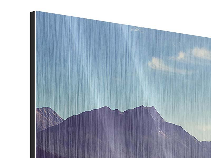 Metallic-Bild 4-teilig modern Bergspiegelung