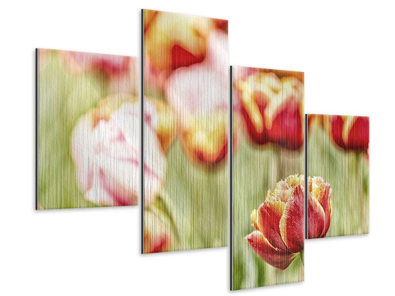 Metallic-Bild 4-teilig modern Die Schönheit der Tulpe