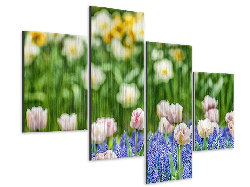 Metallic-Bild 4-teilig modern Ein Garten mit Tulpen