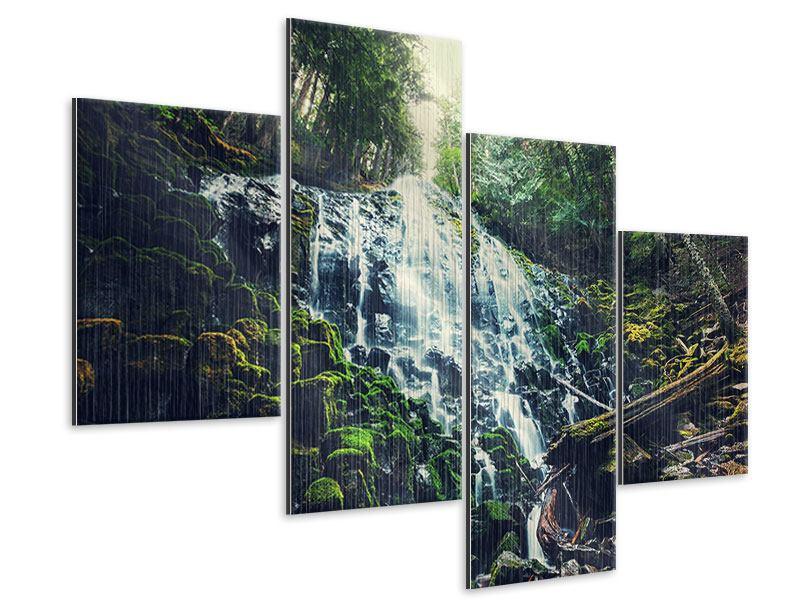 Metallic-Bild 4-teilig modern Feng Shui & Wasserfall