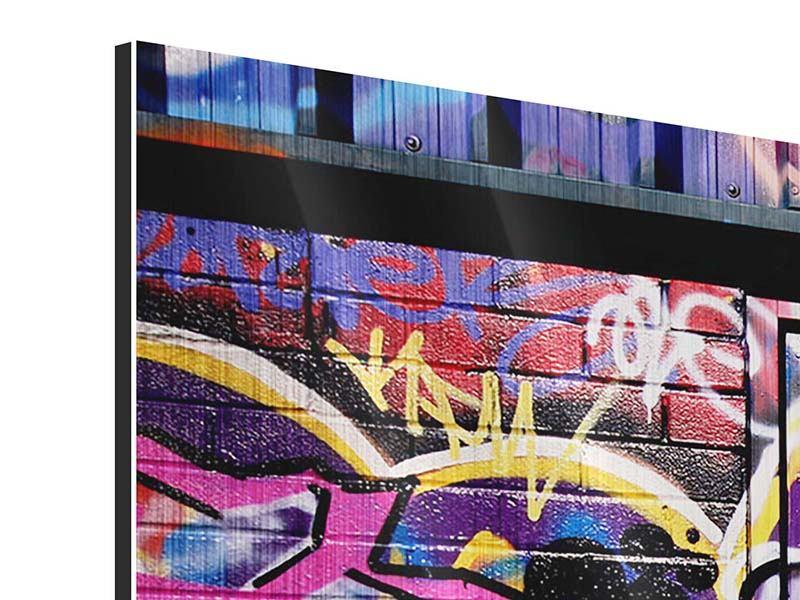 Metallic-Bild 4-teilig modern Graffiti Kunst