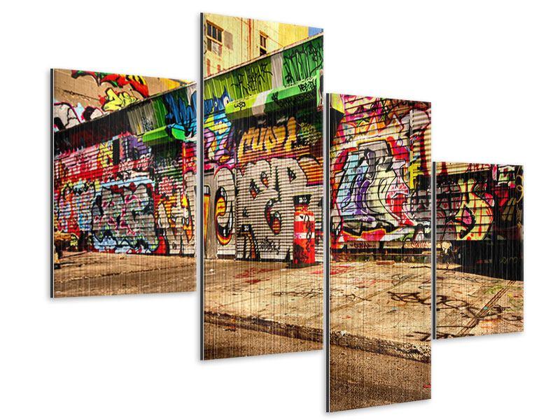 Metallic-Bild 4-teilig modern NY Graffiti