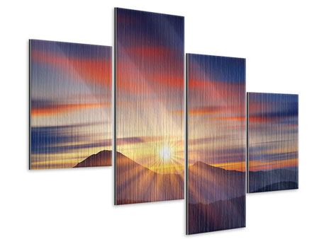 Metallic-Bild 4-teilig modern Märchenhafte Landschaft