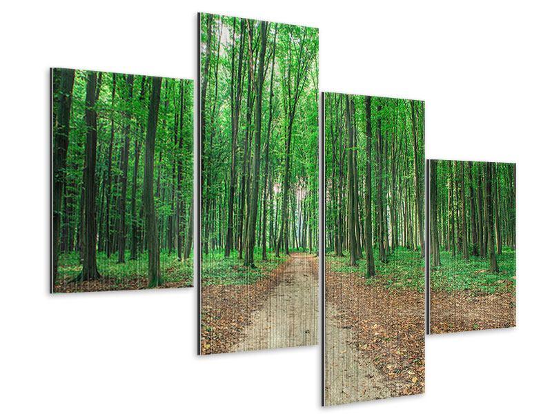 Metallic-Bild 4-teilig modern Tannenwald