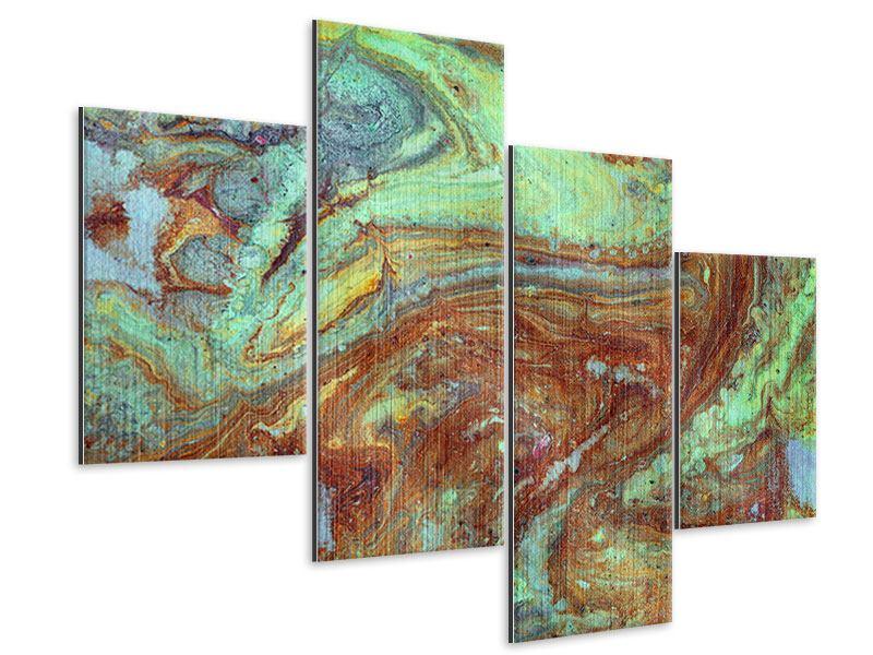 Metallic-Bild 4-teilig modern Marmor in Grün