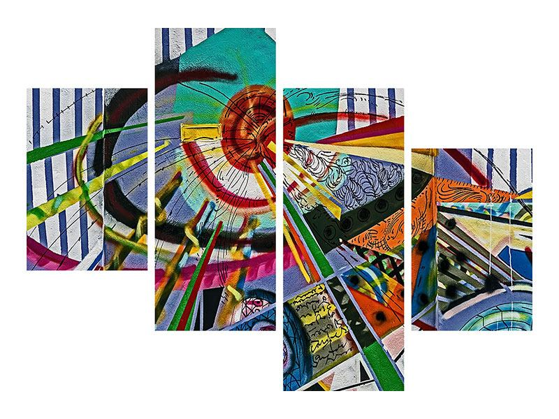Metallic-Bild 4-teilig modern Künstlerisches Graffiti