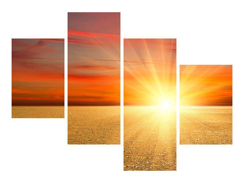 Metallic-Bild 4-teilig modern Der Sonnenuntergang