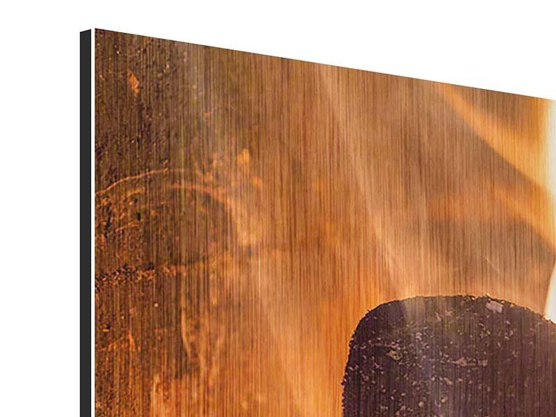 Metallic-Bild 4-teilig modern Kaminfeuer