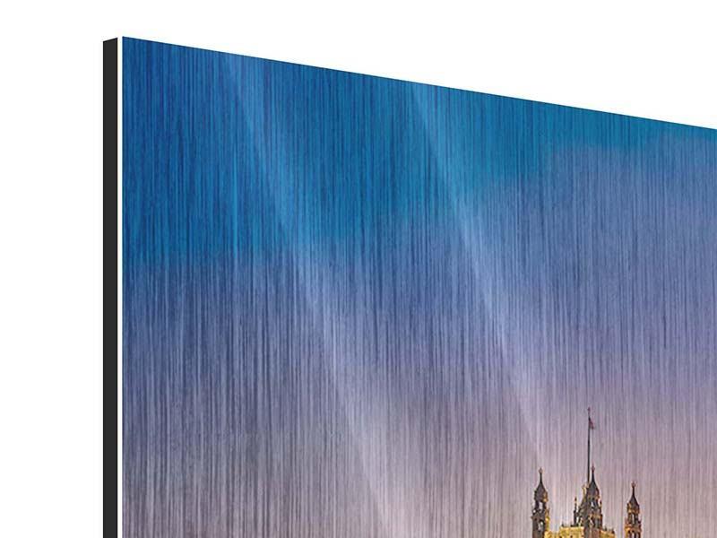 Metallic-Bild 4-teilig modern Big Ben in der Nacht
