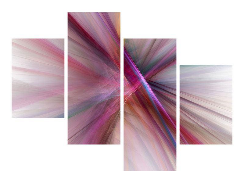Metallic-Bild 4-teilig modern Abstraktes Lichterleuchten