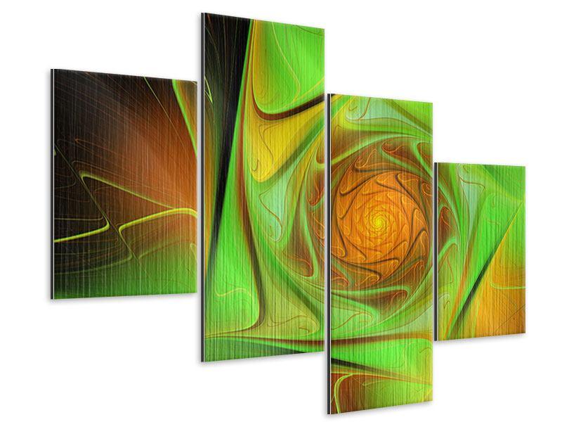 Metallic-Bild 4-teilig modern Abstraktionen