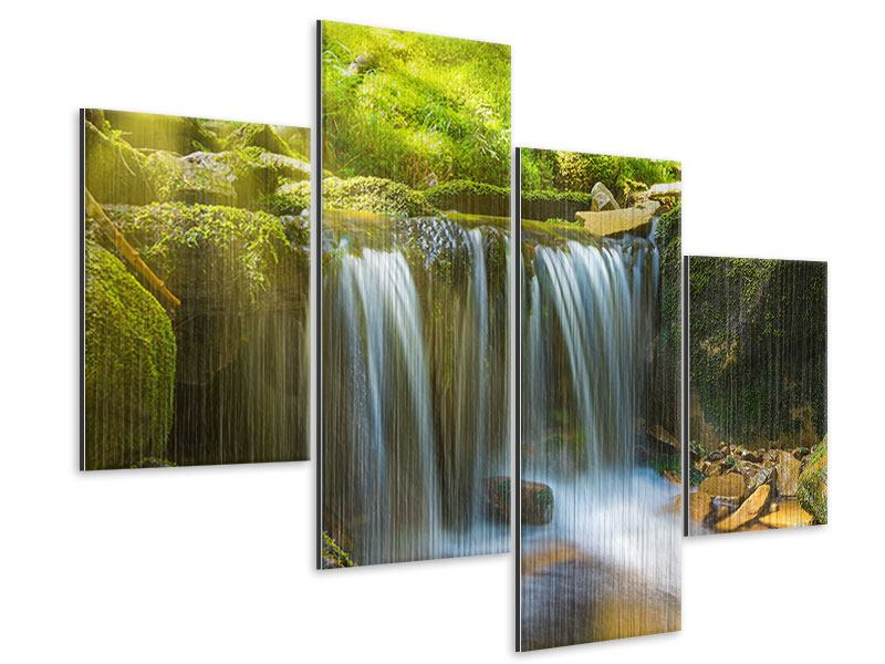 Metallic-Bild 4-teilig modern Schönheit des fallenden Wassers