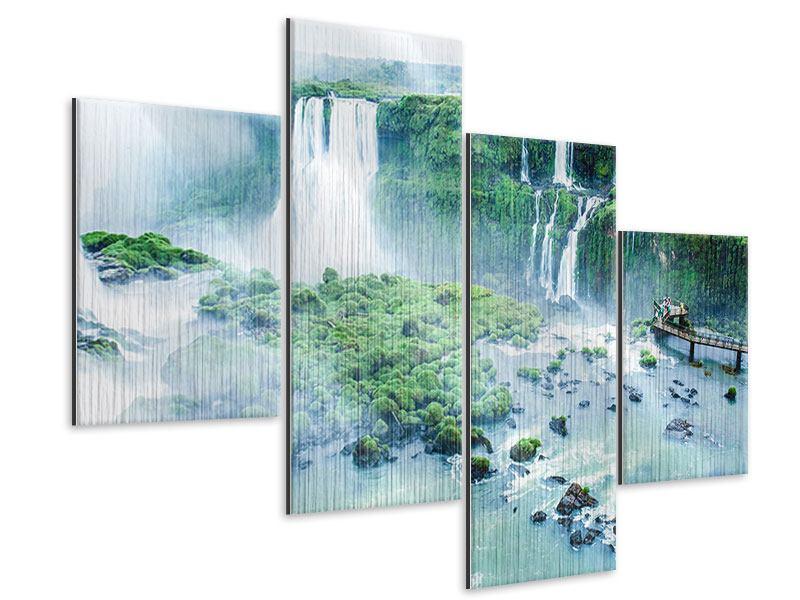 Metallic-Bild 4-teilig modern Wasserfälle