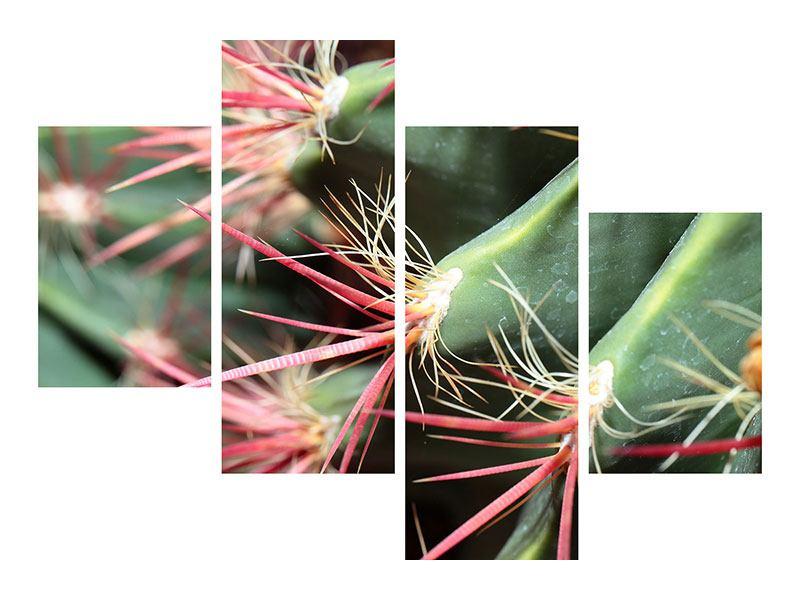 Metallic-Bild 4-teilig modern Die Kaktusblüte