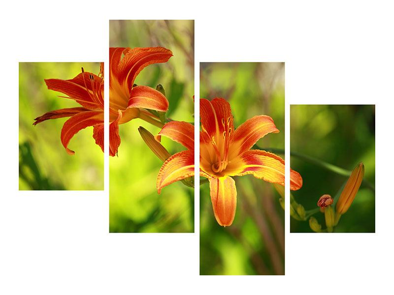 Metallic-Bild 4-teilig modern Lilien in der Natur