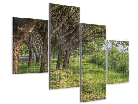 Metallic-Bild 4-teilig modern Alter Baumbestand